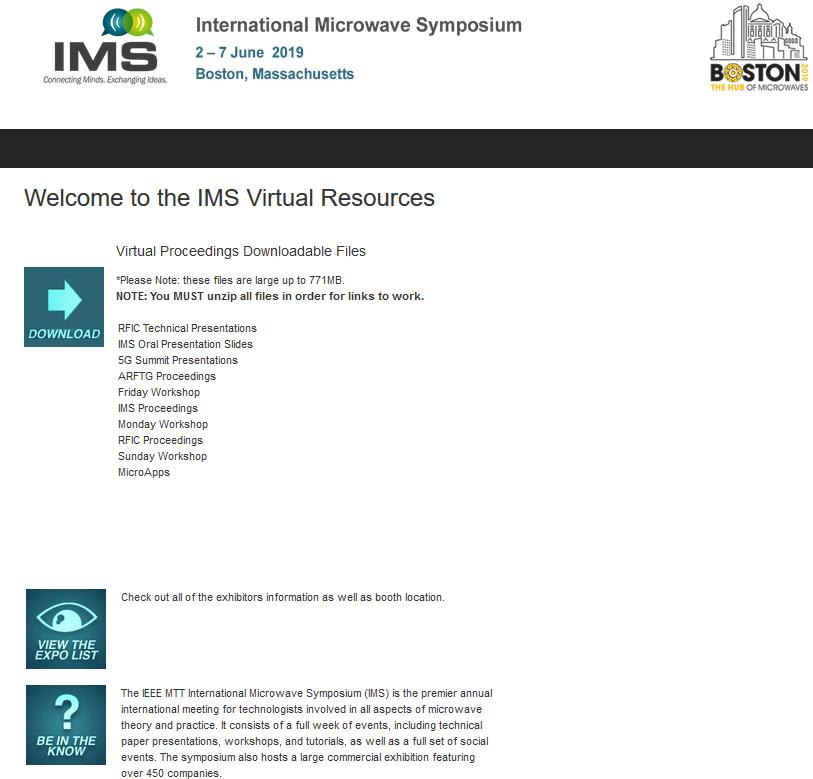 IEEE Microwave Week | IMS2019 | Virtual Proceedings